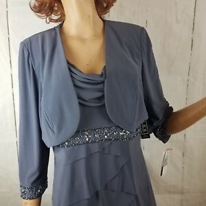Alex-Evenings-2-Piece-Grey-Pearl-Cocktail-Dress-Set-Rhinestones-Ruffles-12-NWT