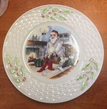 Belleek fine parian china  Christmas Plate Christmas Eve Santa getting ready