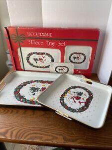 Vtg Set of 2 Lacquerware Christmas Nesting Trays Goose Duck  Japan