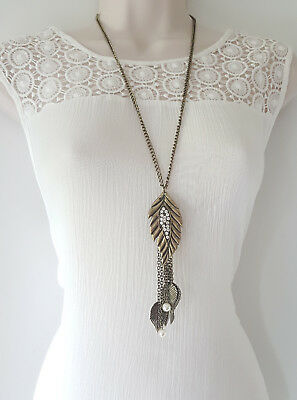 """black /& hematite layered knotted chain necklace Gorgeous 26/"""" long gold tone"""