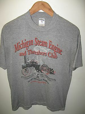 Michigan Steam Engine And Threshers Club Railroad Train Thin Worn Gray T Shirt M