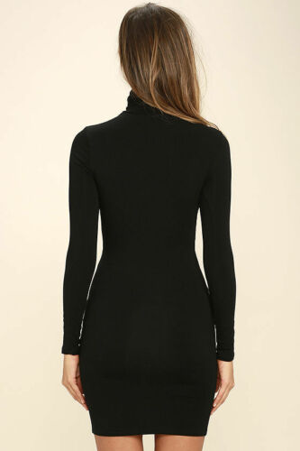 Women Ultra Soft Premium Long Sleeves Turtleneck Perfect Fit Mini Dress S-4XL