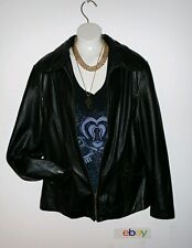 LADIES WILSONS LEATHER JACKET BLACK SZ M buttery soft zip front slash pockets...