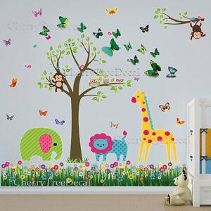 Jungle Animals Tree 3D Butterfly Wall Art Decal Sticker Kids Room ...