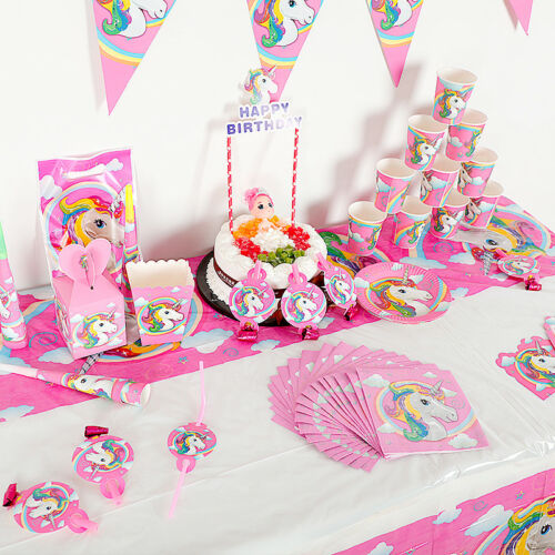 Unicorn Party Birthday Decoration Disposable Tableware Kit Baby Shower Supplies