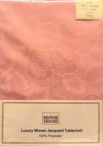 "70"" x 90"" LUXURY PINK FLORAL ROSE JACQUARD OVAL TABLECLOTH 178cm x 228cm"
