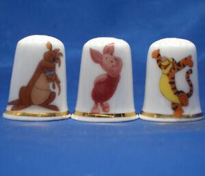 Birchcroft China Thimbles -- Set of Three -- Winnie the Pooh Characters