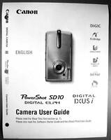 Canon Powershot Sd10 Ixus I Digital Camera User Guide Instruction Manual
