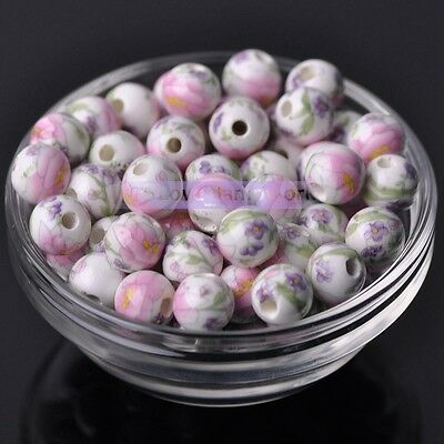 10pcs 10mm Round Porcelain Ceramic Flower Design Loose Spacer Beads Mixed Colors