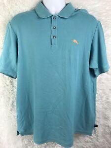 Tommy-Bahama-Men-039-s-Light-Blue-Short-Sleeve-Polo-Shirt-size-large