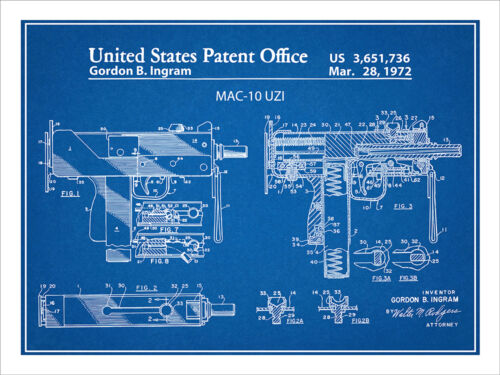 1972 Ingram MAC-10 Uzi Patent Print Art Drawing Poster 18X24