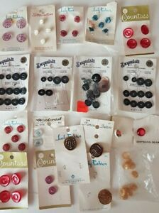 Buttons-Vintage-Original-Cards-Loose-Colors-Washable-Shirt-Sewing-Decorate-Lot