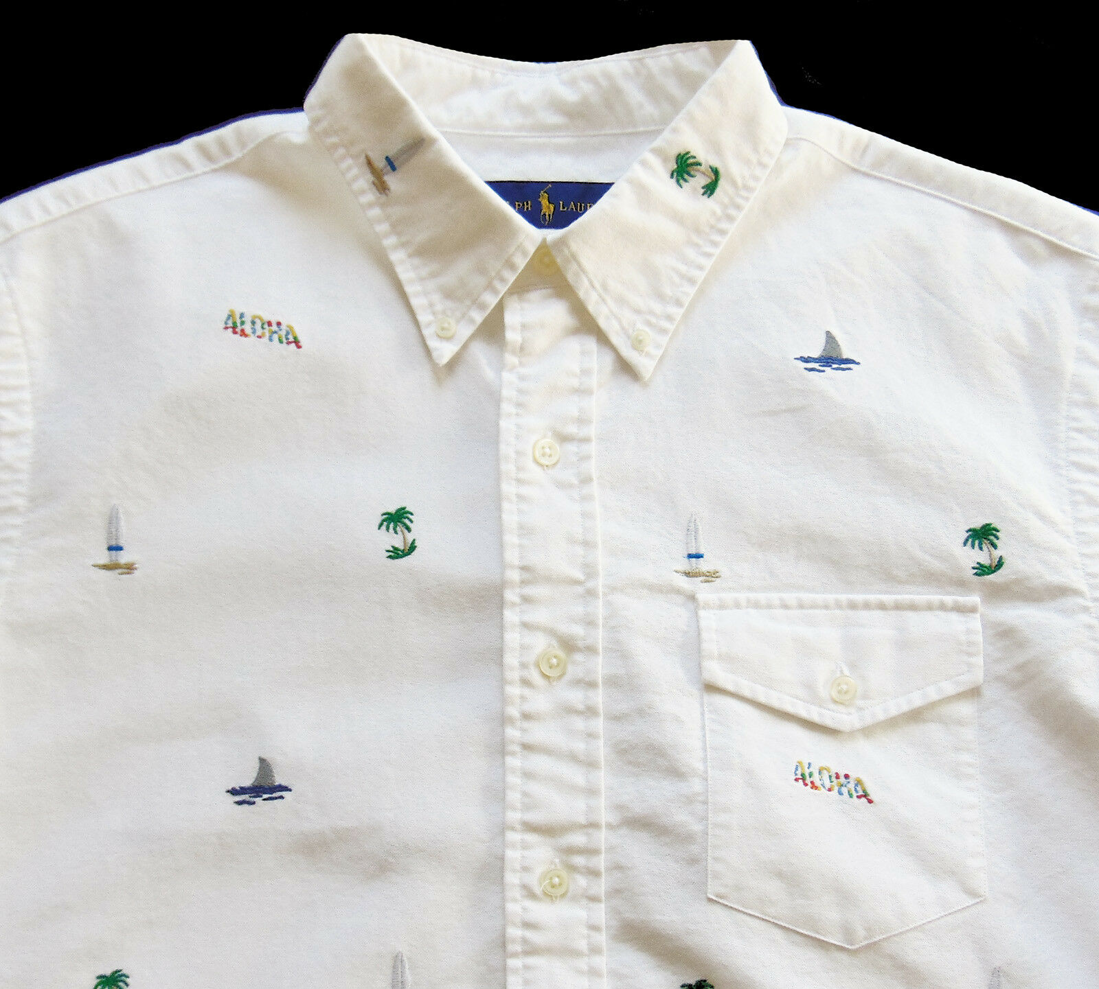 Men's RALPH LAUREN White Short Sleeve Hawaii Aloha S S Shirt XL X-Large NWT NEW