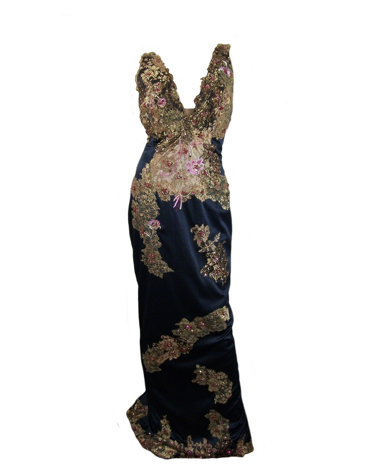 Mandalay gold Embellished Satin Gown Size 6  1070