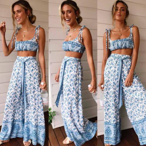 Women 2 Piece Crop Top+Long Cut Out Floral Summer Set Wide Leg Pants Outfits