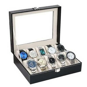 10-Slot-Men-Watch-Box-Leather-Display-Case-Organizer-Glass-Jewelry-Storage-US