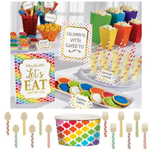 RAINBOW-BUFFET-Birthday-Party-Tableware-Banners-Balloons-amp-Decorations-AM