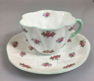 Shelley Dainty Rosebud Scalloped Edge Tea Cup and Saucer Bone China England