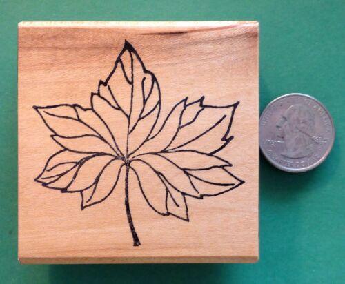 Wood Mounted Rubber Stamp Big Leaf Shrinky-Dink