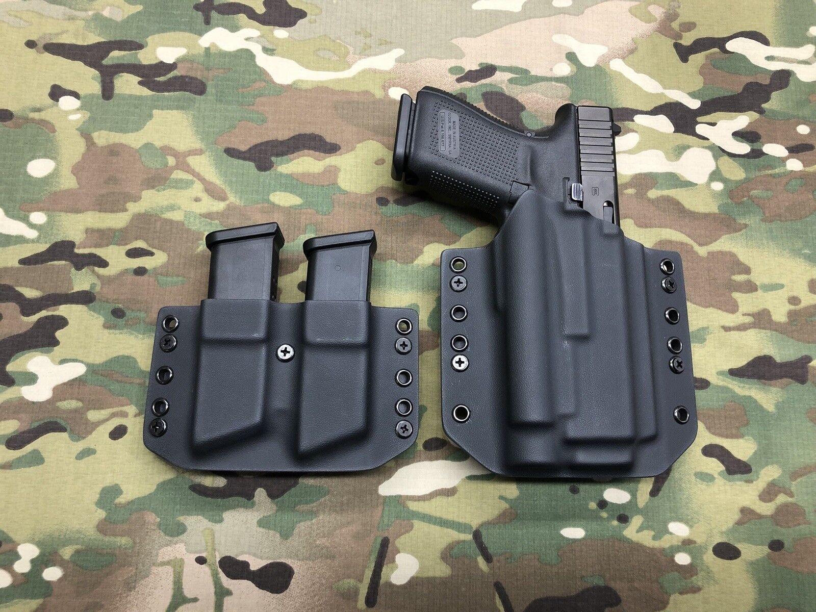 Negro Funda De Kydex Glock 19 23 Olight PL-2 Valkyrie & Doble Mag portador