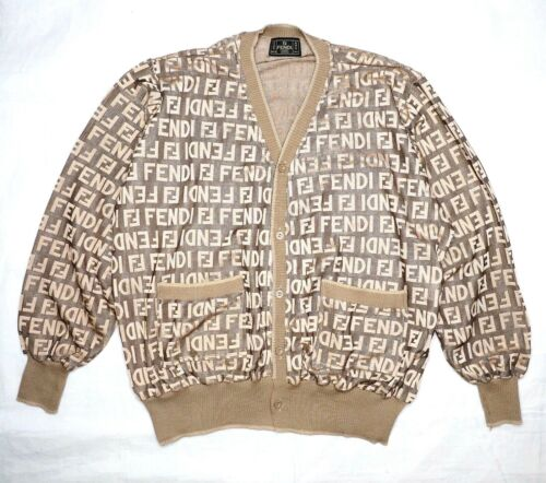 FENDI sweater brown beige gold Man ladies cardigan