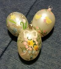 Set Of 3 Department 56 Easter Egg Painted Glass  Glitter Pearly Ornaments Floral