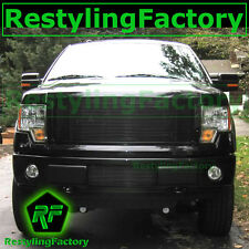 09-14 Ford F150+Eco-boost  Black Bumper Billet Grille Insert+ Mounting Brackets