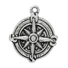 UK SILVER TONE Follow your dreams HALF MOON COMPASS DISC CHARM//PENDANT 20E