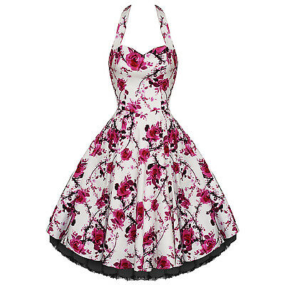 Hearts And Roses London White Pink Floral Vintage 50s Party Prom Summer Dress