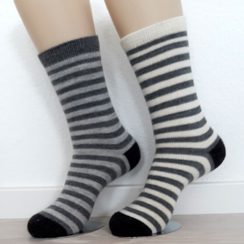 2 Paar Damen Alpaka Ringel Socken Naturwarm 100% Wolle gestreift Fb3 / 35 - 42