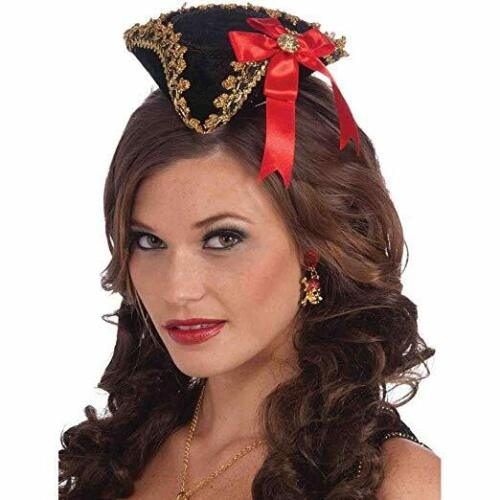 Pirate//Buccaneer Hat Ladies Black//Gold Mini Tricorn Costume W// Red Bow