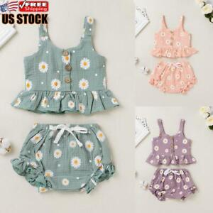 2Pcs Newborn Baby Girl Clothes Sleeveless Floral T Shirt Tops Shorts Outfits Set