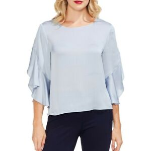VINCE-CAMUTO-NEW-Women-039-s-Ruffled-Elbow-sleeve-Satin-Blouse-Shirt-Top-TEDO