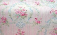 """Cottage Chic Victoria Shabby Pink Rose Clusters & Blue Oval Fabric BTHY~ 60"""" w"""