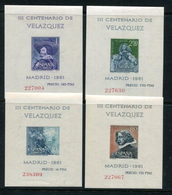Spain 1961 Velazquez Paintings Art MNH Set Mini Sheets 4 Items