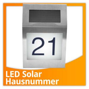 edelstahl led hausnummer beleuchtet mit solar hausnummerleuchte solarlampe ebay. Black Bedroom Furniture Sets. Home Design Ideas