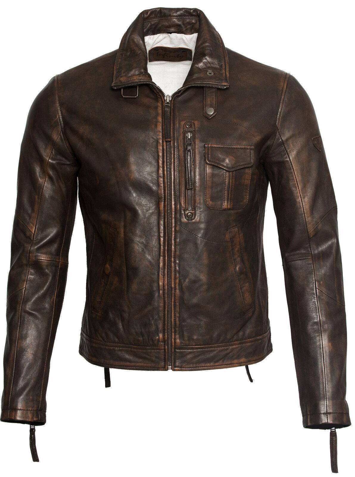 Marron Homme Coupe Veste Rétro Slim Cuir Vintage 100 8ddrFwqB