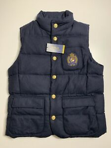 Polo-Ralph-Lauren-Men-039-s-Wool-Down-Vest-Jacket-Bullion-Patch-Crest-Size-XXL-2XL