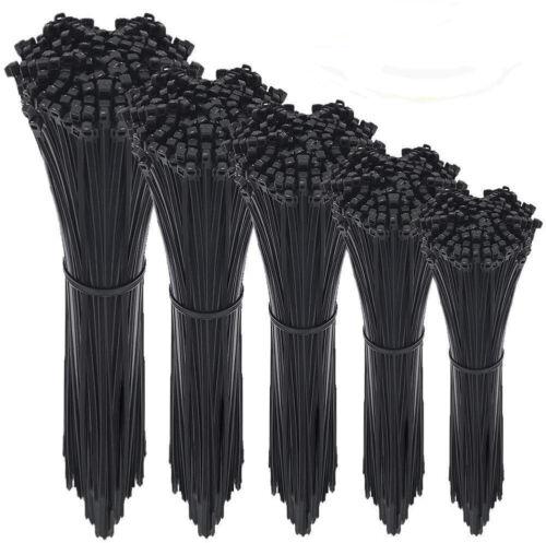 "4/"" to 12/"" USA INDUSTRIAL BLACK WIRE CABLE ZIP UV NYLON TIE WRAPS"
