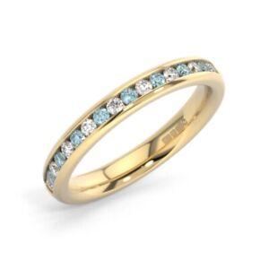 0-75ct-Round-Cut-Diamond-amp-Aquamarine-Half-Eternity-Ring-in-18K-Yellow-Gold