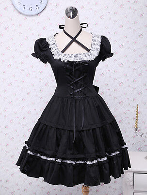 GOTHIC PUNK Cotton Black Lace Cosplay heaven angelic Dolly Lolita Costume Dress