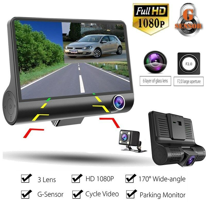 s-l1600 4'' 1080P HD 3 Lens Car DVR Video Dash Cam Camera Night Vision + Rearview Camera