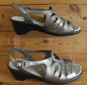 Hotter-Crystal-Ladies-Metallic-Leather-Shoes-Slingback-Wedge-Sandals-UK-6-EXF