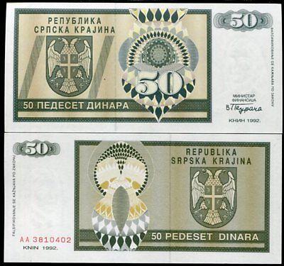 CROATIA 50 DINARA 1992 P R2 RSK Krajina KNIN UNC