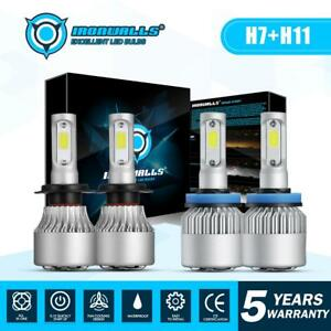Combo-H11-H7-LED-Headlight-Bulbs-Kit-High-Low-Beam-Total-3000W-450000LM-6500K-4x