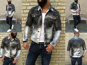 Washed Stone Rocker jeans Bianco Wild Used in Look Giacca Biker Kingz Borchie ZUgq0Y