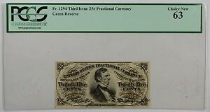 Fr-1294-Third-Issue-25c-Fractional-Currency-PCGS-Choice-New-63-Green-Reverse