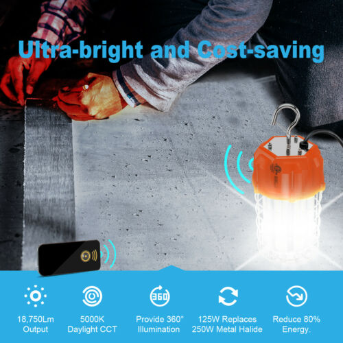 Remote Control 125W Led Temporary Work Light Portable Linkable Daylight White US
