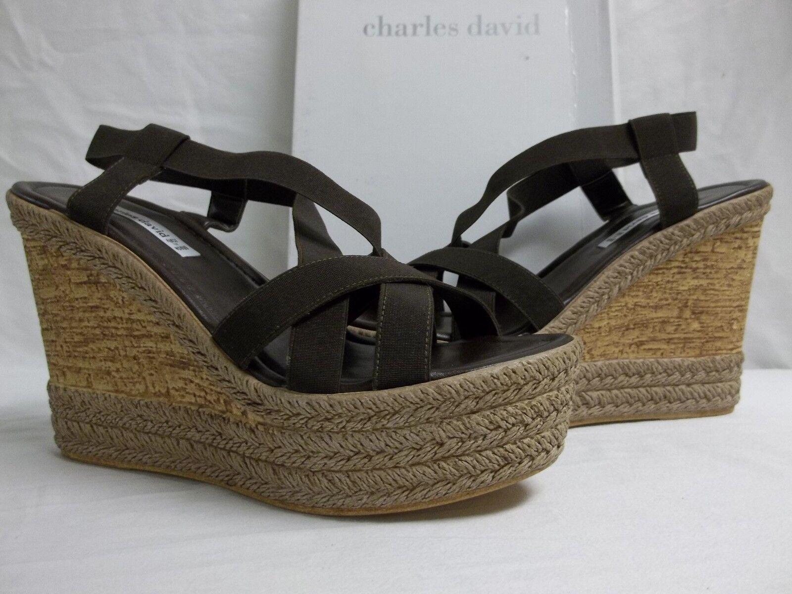 Charles David tamaño 9.5 M tarifa Marrón Elástico cuñas Nuevos Mujer Zapatos Puntera Abierta