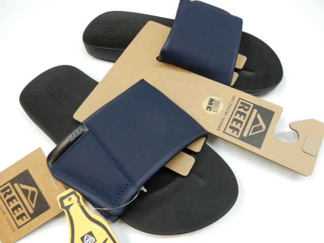 Reef Mens Cushion Bounce Slide Sandals Black Navy 12